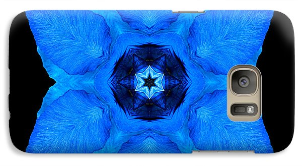 Galaxy Case featuring the photograph Blue Pansy II Flower Mandala by David J Bookbinder