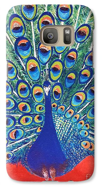 Galaxy Case featuring the painting Blue Peacock by Jasna Gopic