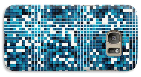 Galaxy Case featuring the digital art Blue Pixel Art by Mike Taylor