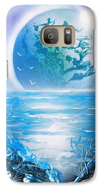 Galaxy Case featuring the painting Blue Moon by Greg Moores