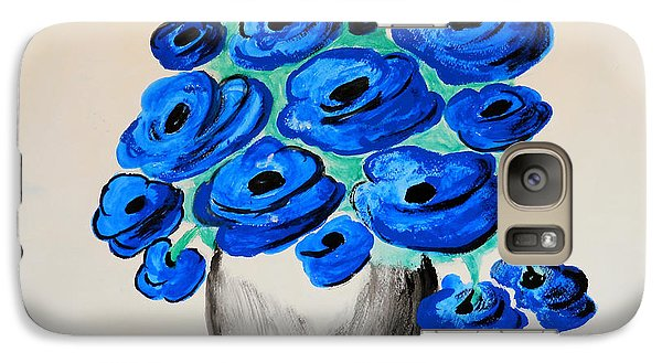 Galaxy Case featuring the painting Blue Poppies by Ramona Matei