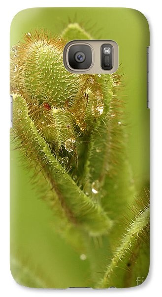 Galaxy Case featuring the photograph Blue Poppy Bud by Inge Riis McDonald