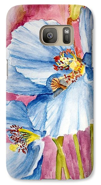 Galaxy Case featuring the painting Blue Poppy by Carol Grimes