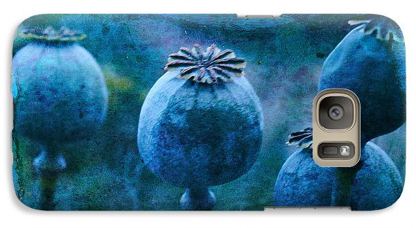 Galaxy Case featuring the photograph Blue Poppy Grunge by Sandra Foster