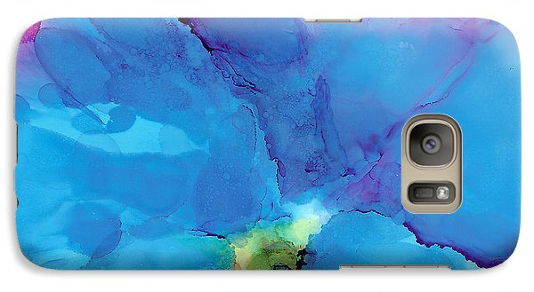 Galaxy Case featuring the painting Blue Poppy by Karen Mattson