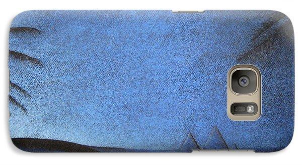 Galaxy Case featuring the drawing Blue Pyramid by Mayhem Mediums