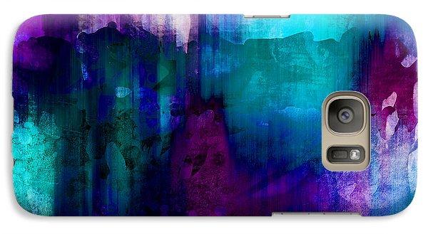 Blue Rain  Abstract Art   Galaxy Case by Ann Powell