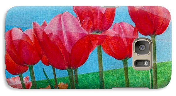 Galaxy Case featuring the painting Blue Ray Tulips by Pamela Clements