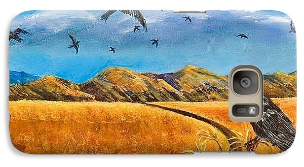 Galaxy Case featuring the painting Blue Ribbon Crows by Susan Culver
