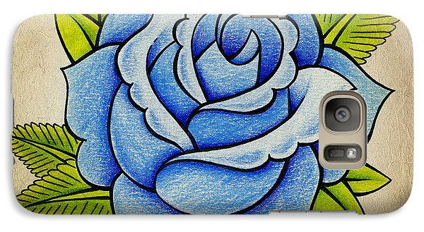 Rose Galaxy S7 Case - Blue Rose by Samuel Whitton