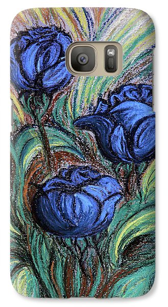 Galaxy Case featuring the painting Blue Roses by Jasna Dragun