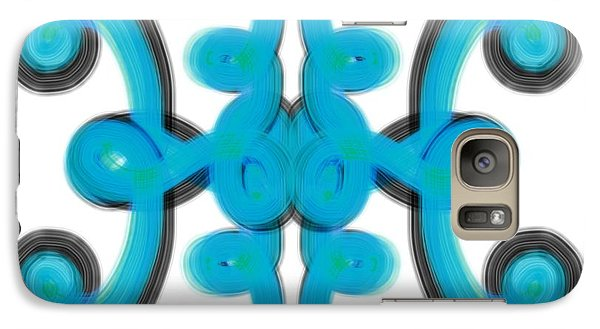 Galaxy Case featuring the digital art Blue Scroll Square by Christine Fournier