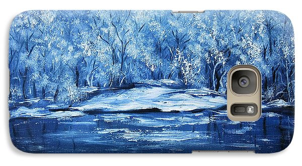Galaxy Case featuring the painting Blue Silence by Vesna Martinjak
