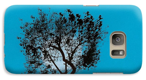 Galaxy Case featuring the drawing Blue Sky Moon by D Hackett