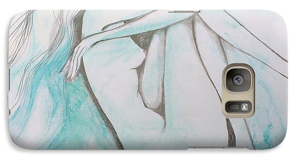 Galaxy Case featuring the drawing Blue Solitude by Marat Essex