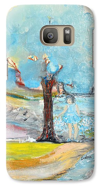 Galaxy Case featuring the painting Blue Summer by Evelina Popilian