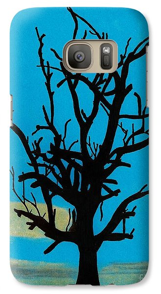 Galaxy Case featuring the drawing Blue Sunset by D Hackett