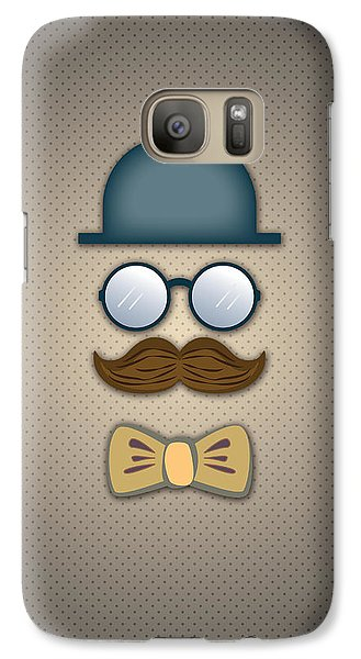 Blue Top Hat Moustache Glasses And Bow Tie Galaxy S7 Case by Ym Chin