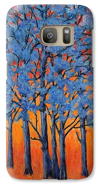 Galaxy Case featuring the painting Blue Trees On A Hot Day by Suzanne Theis