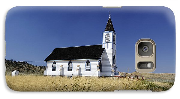 Galaxy Case featuring the photograph Blue Trim Church by Fran Riley