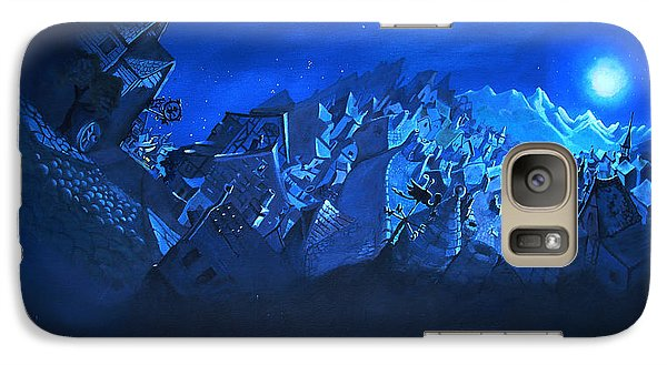 Galaxy Case featuring the painting Blue Village by Joseph Hawkins
