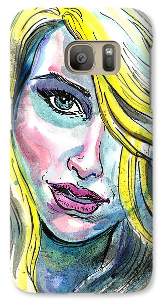 Galaxy Case featuring the mixed media Blue Water Blonde by John Ashton Golden
