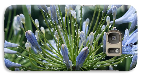 Galaxy Case featuring the photograph Blue Water Drops - 2 by Haleh Mahbod