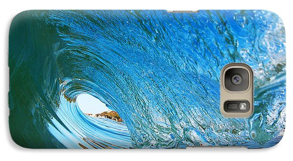 Galaxy Case featuring the photograph Blue Wave Curl by Paul Topp