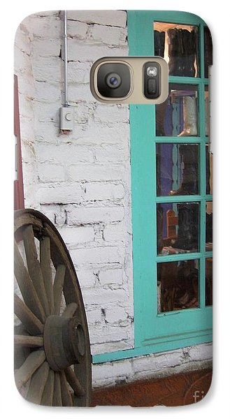 Galaxy Case featuring the photograph Blue Window And Wagon Wheel by Dora Sofia Caputo Photographic Art and Design