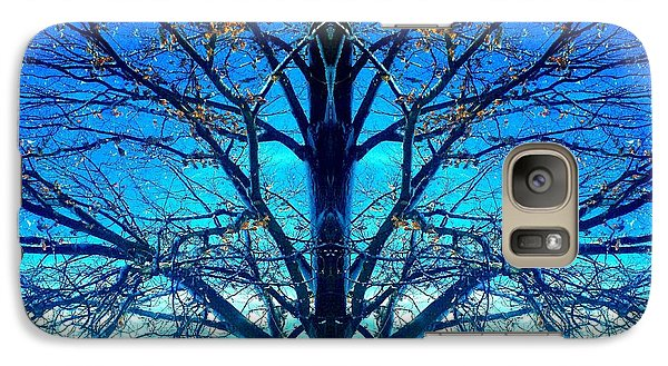 Galaxy Case featuring the photograph Blue Winter Tree by Marianne Dow