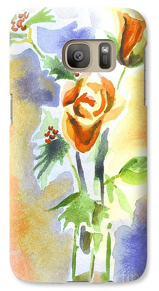 Galaxy Case featuring the painting Blue With Redy Roses And Holly by Kip DeVore