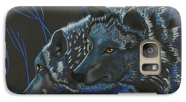 Galaxy Case featuring the drawing Blue Wolves by Mayhem Mediums