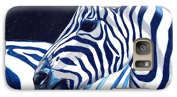 Galaxy Case featuring the painting Blue Zebra by Alison Caltrider