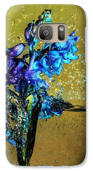 Galaxy Case featuring the mixed media Bluebells In Water Splash by Peter v Quenter