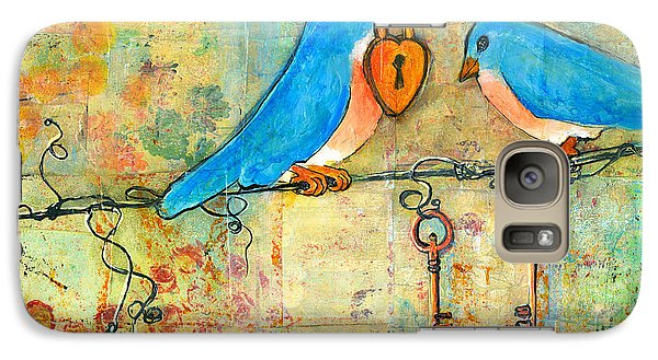 Bluebird Painting - Art Key To My Heart Galaxy Case by Blenda Studio