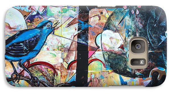 Galaxy Case featuring the mixed media Bluebird Sings by Terry Rowe