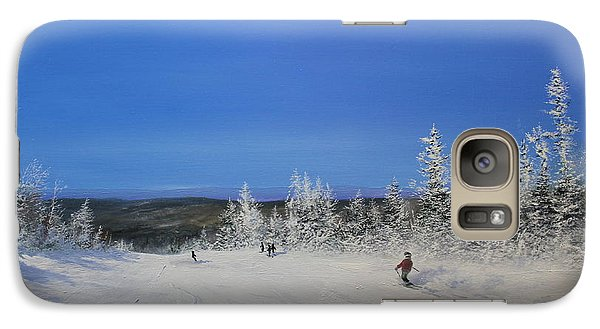 Galaxy Case featuring the painting Bluebird Ski Day by Ken Ahlering