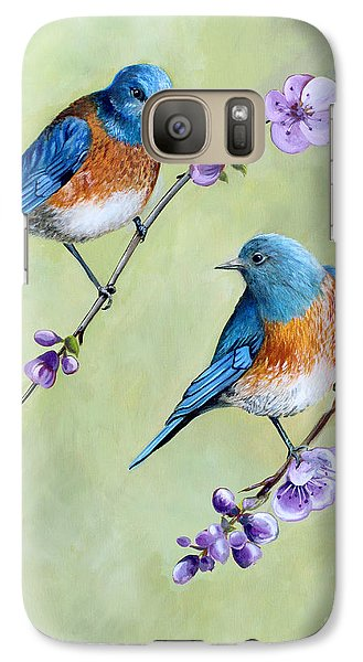 Galaxy Case featuring the painting Bluebirds And Blossoms by Debbie Hart