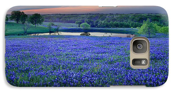 Galaxy Case featuring the photograph Bluebonnet Lake Vista Texas Sunset - Wildflowers Landscape Flowers Pond by Jon Holiday