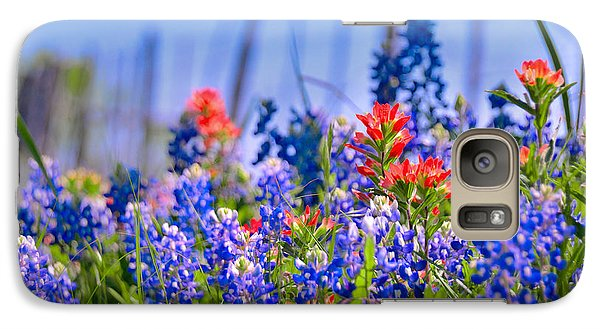 Galaxy Case featuring the photograph Bluebonnet Paintbrush Texas  - Wildflowers Landscape Flowers Fence  by Jon Holiday