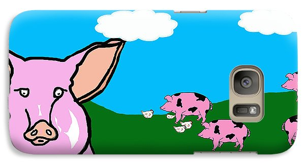 Galaxy Case featuring the drawing Bluesky Farm Pigs by Rachel Lowry