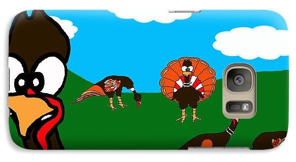 Galaxy Case featuring the drawing Blueskyfarm Turkeys by Rachel Lowry