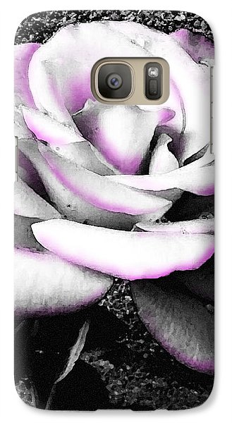 Galaxy Case featuring the photograph Blushing White Rose by Shawna Rowe