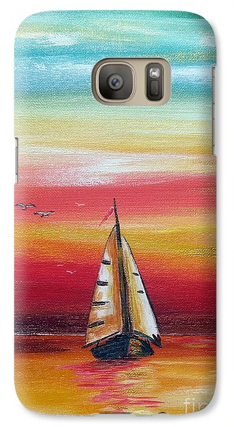 Galaxy Case featuring the painting Boat At Sunset On The Indian Ocean by Roberto Gagliardi