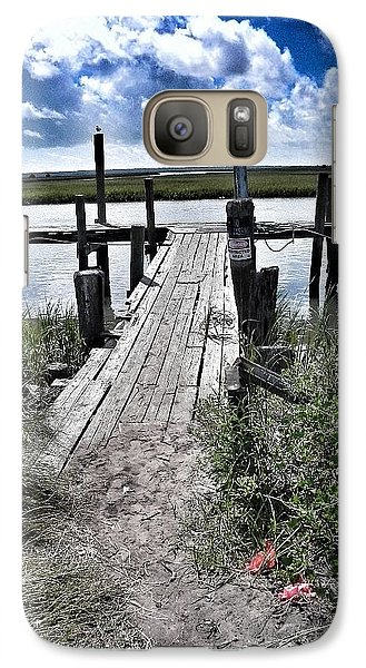 Galaxy Case featuring the photograph Boat Dock With Gulls by Patricia Greer