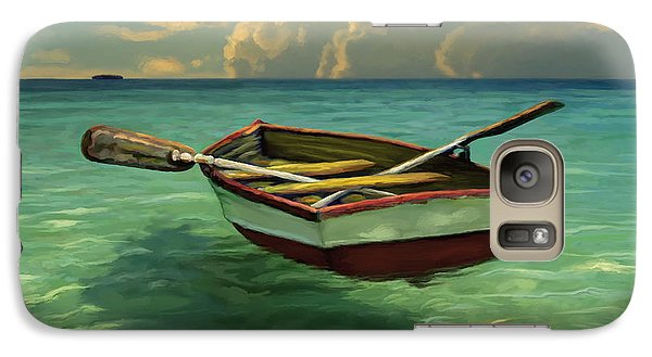 Galaxy Case featuring the painting Boat In Clear Water by David  Van Hulst