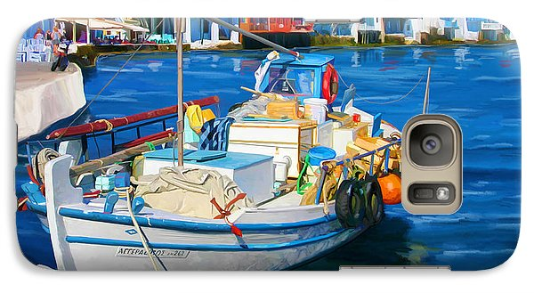 Galaxy Case featuring the painting Boat In Greece by Tim Gilliland