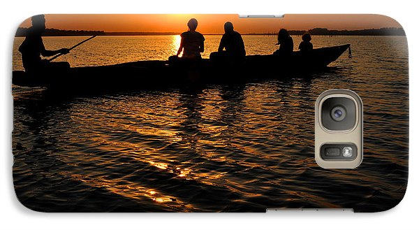 Galaxy Case featuring the photograph Boat In Sunset On Chilika Lake India by Diane Lent