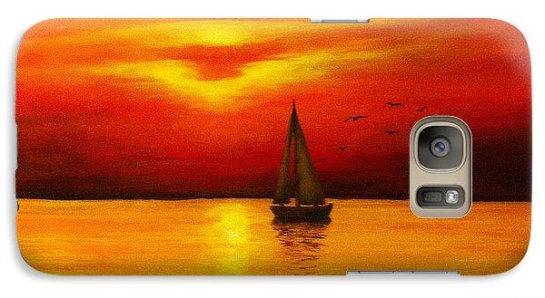 Galaxy Case featuring the painting Boat In The Sunset by Bozena Zajaczkowska