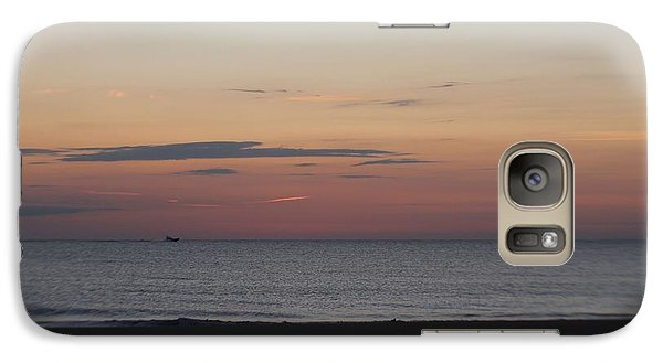 Galaxy Case featuring the photograph Boat On The Horizon At Sunrise by Robert Banach